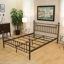 Bedroom Furniture Brown Finish Iron Metal Cal-King Size Bed