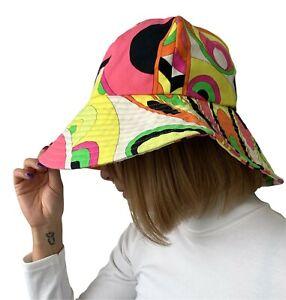 EMILIO PUCCI Vintage Logo Bucket Hat Fashion Accessory Pink Multicolor RankAB+