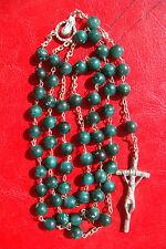 JESUS SACRED HEART/VIRGIN MARY PRAYING GREEN GLASS BEADS BEAUTIFUL LARGE ROSARY