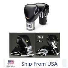 14 oz Everlast Style Boxing Training Gloves Sparring Fighting Gloves Black