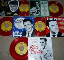 *<* 5 ELVIS SUN RED VINYL 45s! MYSTERY TRAIN +4 UNPLAYED MINT GEMS w/PIC SLEEVES
