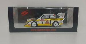 Model Car Scale 1:43 Spark Audi Sport Rally Sanremo 1985 Modeling Static