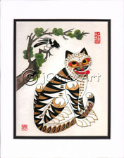 Korean Art Rice Paper Print Magpie Tiger Matted #001r