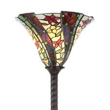 """Tiffany-Style Floral Torchiere Floor Lamp Red Green Jewels Stained Glass 71"""" H"""