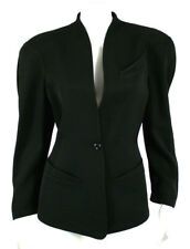 THIERRY MUGLER Vintage Black Wool Crepe Standing Collar Jacket 40