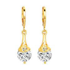 Women Gold Plated Shinning CZ Cubic Zirconia Dangle Drop Earrings Jewelry