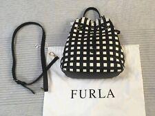 NWT Furla Stacy Casanova black cream white woven leather bucket bag shoulder