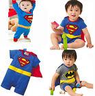 Hot Superman Batman Costume Baby Romper Outfit Boy Kid Jumpersuit Size 0-24Month