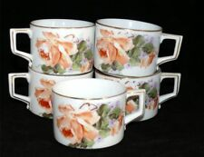 Vintage H & Co. Mirzi Crown Heinrich Selb Bavaria Rose China Coffee Cup Set 5
