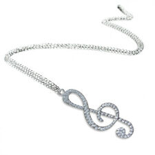 Crystal Chain Necklace Pendant Treble Clef Music Note Long Necklace for wom R9N6
