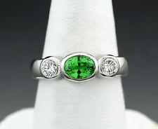 Ring grüner Granat 2 Brillanten 1,50 carat 900-Platin 10 Gr. Wert € 4600 (38189)