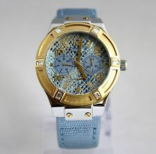 NEW GUESS Rigor Iconic W0289L2 Blue, Golden Chronograph Dial Women Watch