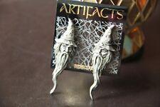 """""""JJ"""" Jonette Jewelry Signed Vintage Wizard Earrings Pewter L@@K mystical post"""