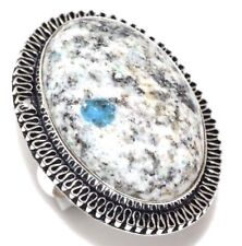 Handmade Blue Azurite Jasper 925 Sterling Silver Ring Size: 7.5 #R00076