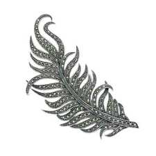 Feather Pin - Mpn190 Large Sterling Silver & Marcasite