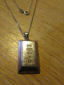 "Pretty 925 Silver Ingot Style Pendant with fine 20"" Kerb Chain"