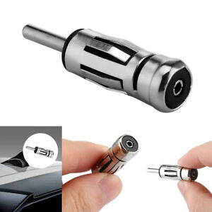 Vehicles Alloy Aerial Plug Car Radio Stereo Antenna Mast Adapter ISO To Din