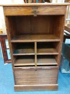 Antique filing cabinet tambour roll front Stolzenberg oak RSPCA Middlesex/Herts