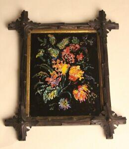 Folk Art Reverse Glass Tinsel Foil Glitter Painting Flowers, Carved Tramp Frame