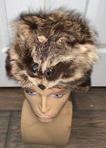 VINTAGE Real Raccoon Fur Hat Men' Mountain Man Muzzleloader