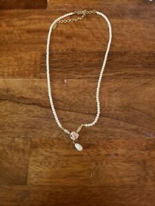 Necklace Jewelery Plastic Pearls Small Rose Charm