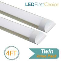 Twin Pack LED Batten Slimline Tube Light UK 4FT Strip Lights Wall Or Ceiling