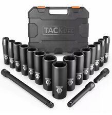 TACKLIFE Complete 1/2-Inch Drive Deep Impact Socket Set, Metric, CR-V, 6 Point