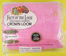 Vtg Fruit of the Loom Pink Blanket Nylon Edge NOS Twin Double Polyester 72 x 90