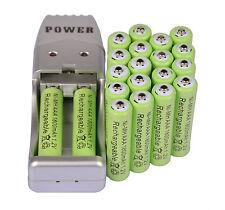 20X Batería recargable AAA 3A 1800mAh 1.2V NiMH verde color + USB Cargador