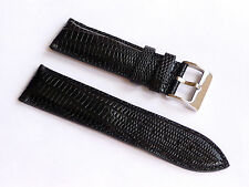 Replacement Quality Lug 24mm Black Genuine Leather Alligator Strap Silver Buckle