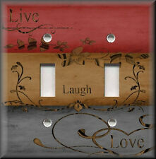 Metal Light Switch Plate Cover - Live Laugh Love Home Decor Red Grey Brown Decor