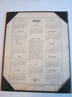 1901 - 1902 CALENDAR WITH POSTAL RATES - 2 PAGES TOTAL - TUB RH -1