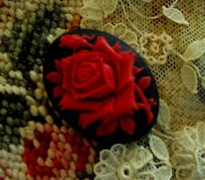 """Deep Red Rose Molded Cameo~25X18mm~1""""X3/4"""" Button~Red Rose on Black~ Gorgeous!"""