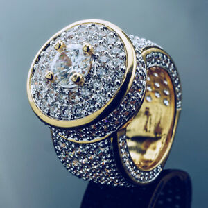 18K Gold Bling Out Iced Lab Simulated Diamond Band Micro-Pave Mens Pinky Ring