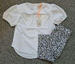 River Island Baby Girls White Blouse Leopard Print Outfit Set BNWT 12-18 Months