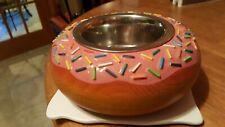 New listing Wooden Pink Sprinkle Donut Shape Raised Dog Bowl Custom Esty Artist Handcrafted