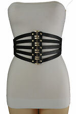 Women Black Faux Leather Elastic Wide Fashion Corset Belt Waist Gold Studs S M