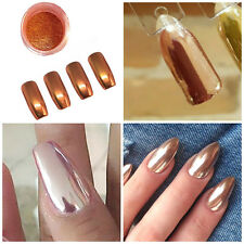ROSE GOLD MIRROR POWDER ALUMINIUM EFFECT CHROME NAILS PIGMENT GEL POLISH DIY