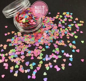 HEART Pearlescent Pastel Mix 3D Nail Art Glitter Sequins Shining Decoration