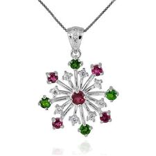 1.7ct Genuine Diopside Tourmaline Snowflake Pendant Necklace Sterling Silver