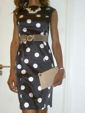 coast dress black polka dot white spots satin wiggle pencil  belt 12 rrp139 new
