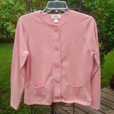 TALBOTS Pink Cardigan Sweater Jacket Large Button Front Long Sleeve Medium P