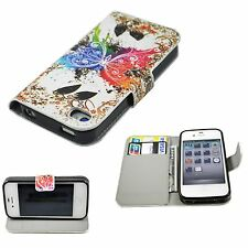 Butterfly Flip Leather Stand Soft TPU Wallet Cover Case For Apple Iphone 4 4G 4S