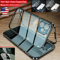 For iPhone 12 11 Pro Max Mini Metal Magnetic Full Tempered Glass Case Lens Cover