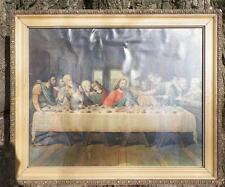 Vintage The Last Supper Print in Wood & Plaster Frame Jesus Disciples As Is
