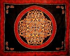 """Celtic Circle Tapestry Cotton Bedspread 104"""" x 88"""" Full Red"""