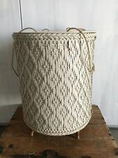 Vtg 40s Princess Mid Century Harvey Wicker Sewing Craft Storage Footed Basket