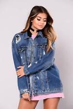 UK Womens Ripped Denim Biker Jacket Coat Ladies Loose Long Sleeve Jeans Outwear