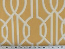 Drapery Upholstery Fabric 100% Cotton Geometric Art Deco Print - Goldenrod
