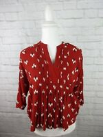 Old Navy women's size XS Red Pleated Peasant Rayon Top 3/4 Sleeve VR5